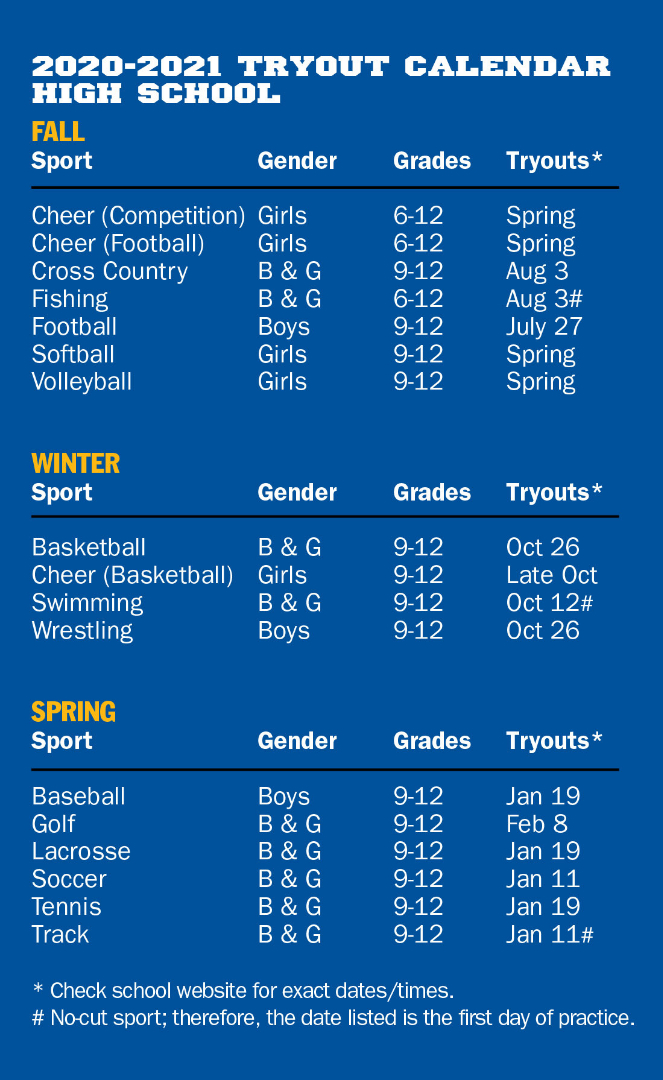 High School Tryout Schedule