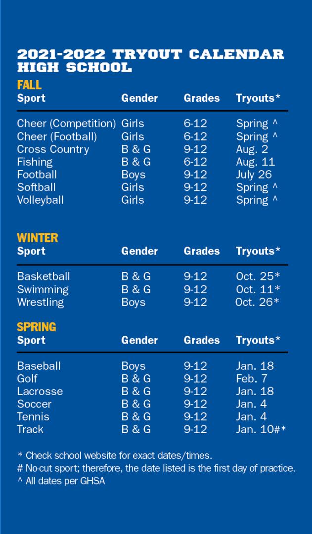 High School Tryout Schedule