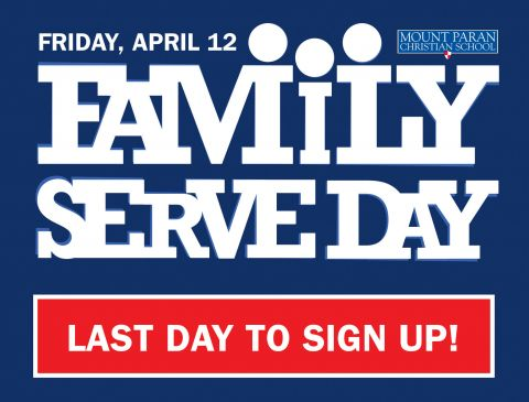 Family Serve Day - Site Registration Closes Today at 5:00 p.m.